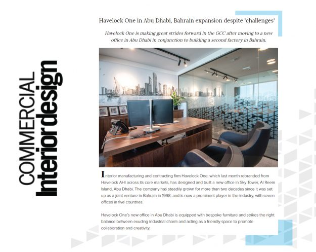 Havelock One expansion PR coverage - by Commercial Interior Design