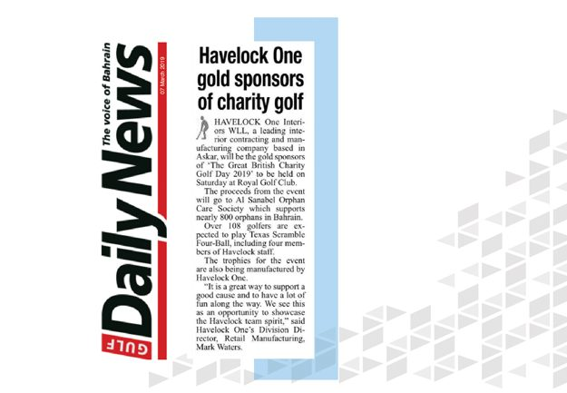 Havelock One Charity Golf gold sponsor PR coverage - by GDN