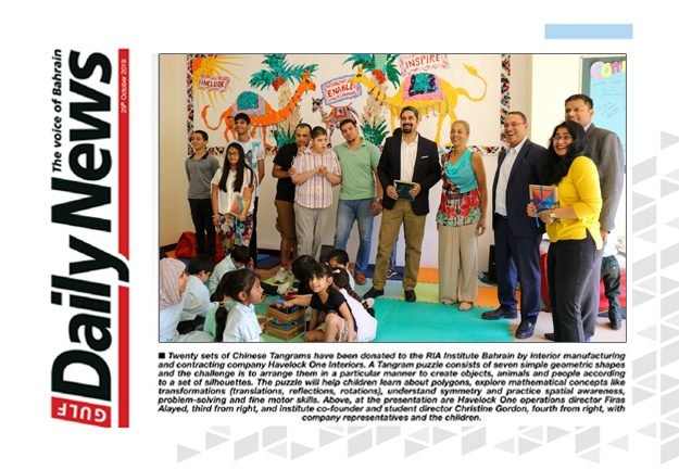 Havelock One donated Tangrams to RIA Institute Bahrain PR coverage - by GDN