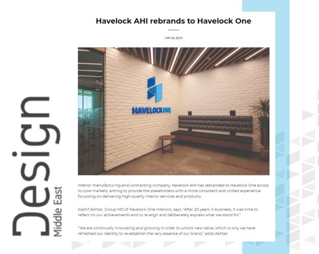 Havelock One expansion PR coverage - Havelock One by Design Middle East