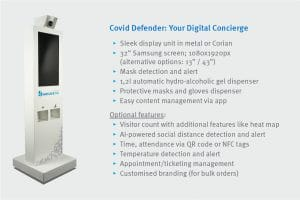 Covid Defender – interactive digital display to control access and make your premises safer