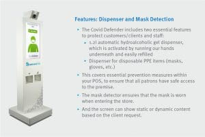 Covid Defender - PPE and gel dispenser and mask detection function